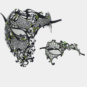 Black Phantom Rhinestones Men Woman Venetian Masquerade Metal Costume Couple Mask Set Half Skull Face Halloween Party Masks Lot