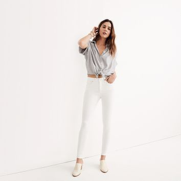 "9"" High-Rise Skinny Jeans in Pure White"