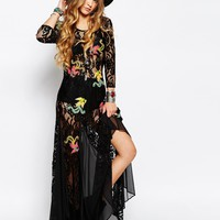 Reclaimed Vintage Lace Maxi Dress With Inserts & Dragon Patches