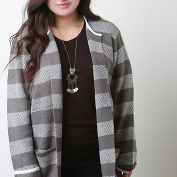 Structured Striped Open Front Cardigan