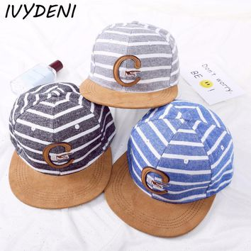 Snapback Baseball Cap Children Sport Cap Embroidery Letters C Stripe Outdoor Sun hat 2-8 Years Old Kid Boys And Girls Flat Cap