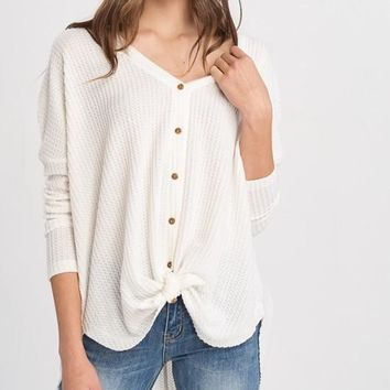 Sweet Dreams Thermal Knit Button Down Sweater (Ivory)