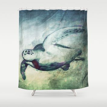 Flying Green Sea Turtle Shower Curtain by Nirvana.K | Society6