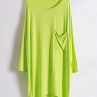 Green Loose Cotton Women Top One Size HT40001gr from efoxcity