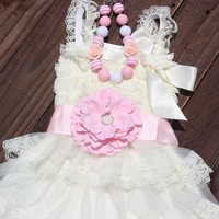 Chiffon Girls Dress with Pink Flower Sash | From Bows To Toes
