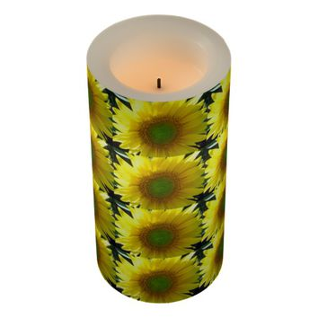 Repeating Sunflowers Flameless Candle