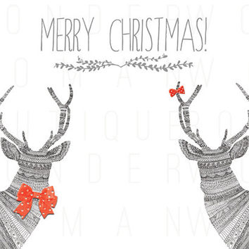 Christmas Deer with Red Bows Christmas Card DIY Instant Download