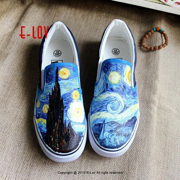 E-LOV 5 Special Painting Unisex Designs Hand-Painted Canvas Shoes Personalized Men Adult Casual Shoes Cute Platform Shoes