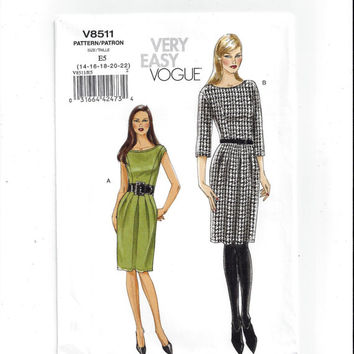 Vogue 8511 Pattern for Misses' Dresses, Very Easy Vogue, FACTORY FOLDED, UNCUT, 2008, Unused, Home Sewing Pattern, Easy Sew, Size 14 to 22