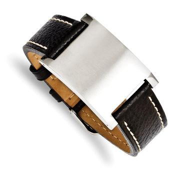 Mens Blk Leather & Brushed Stainless Steel ID Buckle Bracelet, 8.75 In