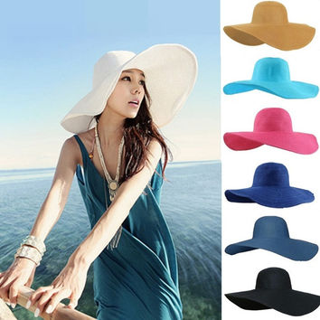 New Fashion Wide Large Brim Summer Beach Sun Straw Beach Derby Hat Cap H3134 = 1958206532