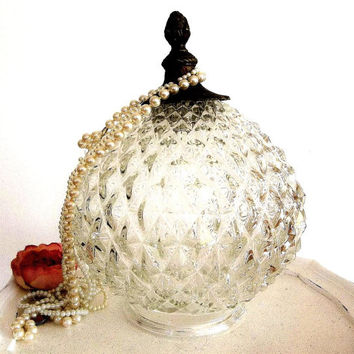 Vintage Glass Ceiling Light Fixture Shade diamond point w brass finial, Round Globe lamp shade, Victorian Decor light shade lighting