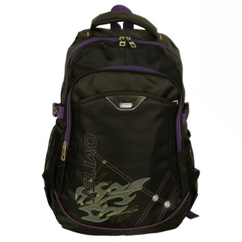 Purple Zipper Chic Multiurpose Backpack / School Bag / Dayback / Outdoor Backpack - Black