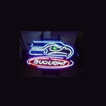 """Business NEON SIGN board For  LED Seattle Seahawks Football Bud  REAL GLASS Tube BEER BAR PUB Club Shop Light Signs 17*14"""""""