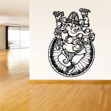 rvz1381 Wall Decal Vinyl Sticker Decals Buddha India Indian Om Ganesh God Yoga