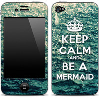 "New ""Keep Calm And Be A Mermaid""  2 iPhone 4/4s or 5, iPod Touch 4th or 5th Gen, Galaxy S2 or S3  Skin FREE SHIPPING"