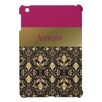 Gold damask and Red iPad Mini Cover
