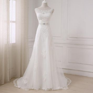 Fashionable Elegant Long A Line Wedding Dress Boat Neck Low Back Beading Appliques Bride dresses