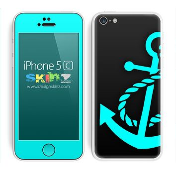 Solid Black and Turquoise Anchor Skin For The iPhone 5c