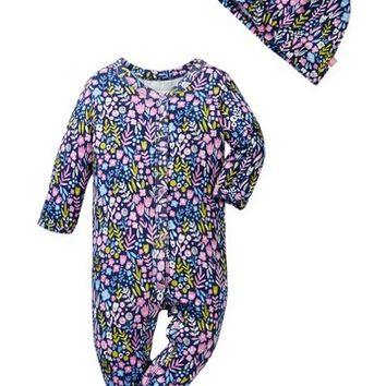 Offspring | Wildflowers Footie & Hat Set (Baby Girls) | Nordstrom Rack