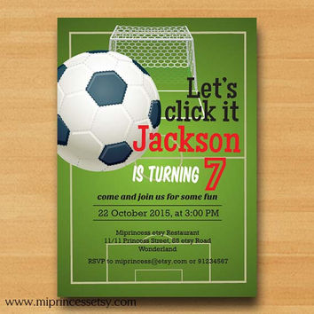 Football birthday Soccer birthday invitation. party boy kids sport party for any age, boy 3rd 4th 5th 6th 7th 8th 9th 10th - card 090