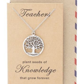 Mia Tree of Life Necklace with Thank You Cards, Teacher Gifts