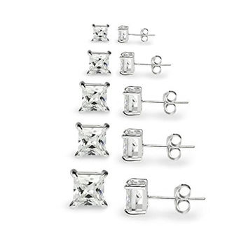 "River Island Jewelry -""5 Pairs"" Sterling Silver Square Princess Cut CZ Stone Cubic Zirconia Basket Stud Earrings 3mm, 4mm, 5mm, 6mm 7mm"