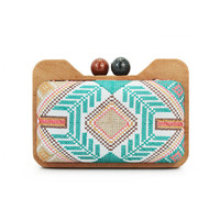 wooden pattern  evening clutch bag for women lady handbag