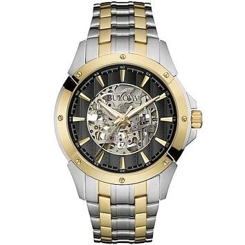 Bulova Mens Automatic Dress Watch - Skeleton Dial - Silver and Gold Tone Finish