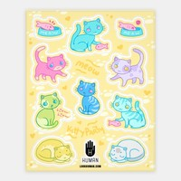 Cute Colorful Cat Stickers | Stickers, Sticker Sheets and Vinyl Stickers | Human