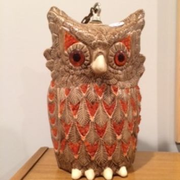 Vintage Owl Swag Lamp with Orange Acrylic Feathers