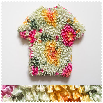 Multicolored flowers // Ruffled blouse// Hippie 70s // Fit to many sizes