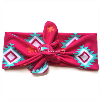 Jersey Knit Tie Headband, Top knot headband, tribal, geometric, hot pink tribal Knot Headband,Top knot headband,