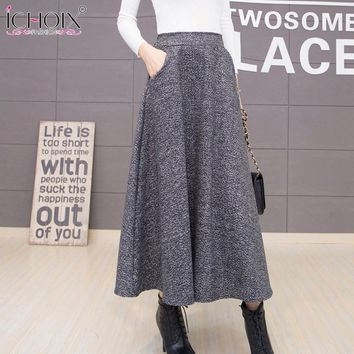 ICHOIX 2017 Autumn Winter Woolen Women Skirts Plus Size Wool Long Skirt Faldas Mujer High Waist Maxi Tutu Pleated Skirt Saias