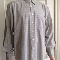 Eddie Bauer Shirt Mens Size L Long Sleeve Large Button Front Stone Plaid Cotton