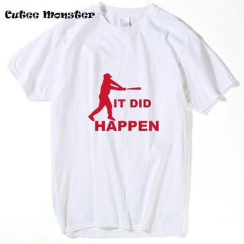 Men IT DID HAPPEN Letter T shirts 2017 Chicago Cubs Streetwear Hip Hop baseball jersey T-shirt Clothing 3XL