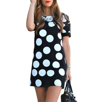 New Summer Fashion Women Dresses Casual Sheath Dot Short Sleeve O-Neck Vintage Mini Dress Vestidos