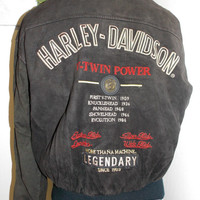 Harley Davidson Vintage 1980's Mens V TWIN POWER Suede Leather Bomber Jacket Size XS