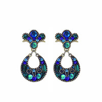 Michal Golan Peacock Collection Peacock Fan with Open Hoop Post Drop Earrings