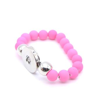 Pink Silicone Snap Button Bracelet  fit Metal Snap Button 18mm/12mm for Child Kids Girl Jewelry 2017