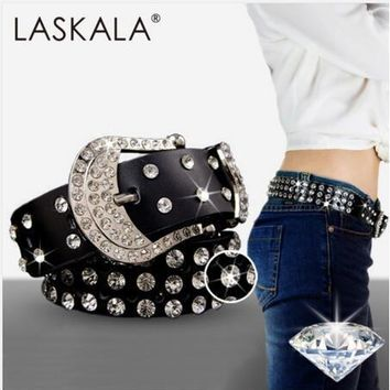 Fashion Genuine Leather Women's Belt Inlaid Rhinestone Belt
