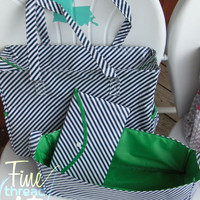 Navy Stripe Diaper Bag Collection with Green Detailing