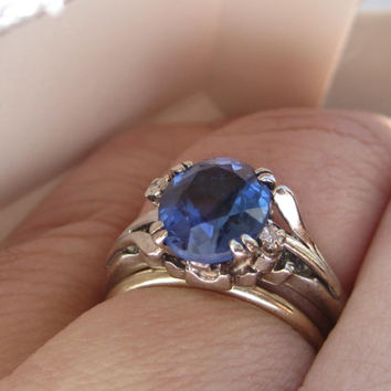 Vintage 2.5 carat Velvety Blue Ceylon Sapphire & Diamond Engagement Ring Alternative 14k Gold Retro Era Wedding Ring Watch Video!