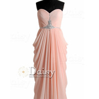 Sweetheart Long Apricot Prom Dress Beaded A-line Chiffon Evening Dress(PR72168)