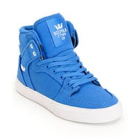 Supra Kids Vaider Royal Blue Canvas High Top Skate Shoes at Zumiez : PDP