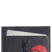 Saint Laurent Appliqué Lips Leather Card Holder | Nordstrom