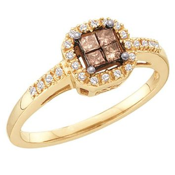 Ladies Yellow Gold Champagne Brown Diamond Bridal Engagement Ring 0.25CT