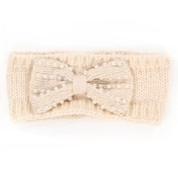 Ivory Pearl Bow Knit Headband