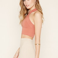 Zip-Back Halter Crop Top | Forever 21 - 2000176952