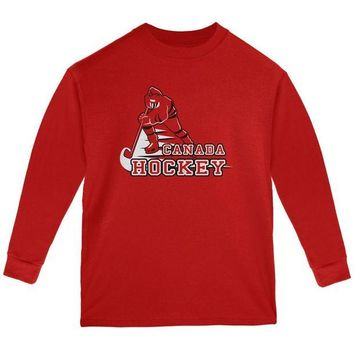 ONETOW Fast Hockey Player Country Canada Youth Long Sleeve T Shirt